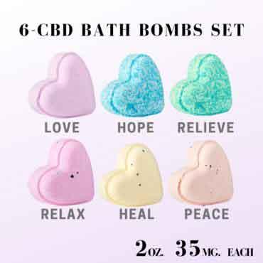 6 – 2oz 35mg Heart-Shaped Bath Bombs Set 1