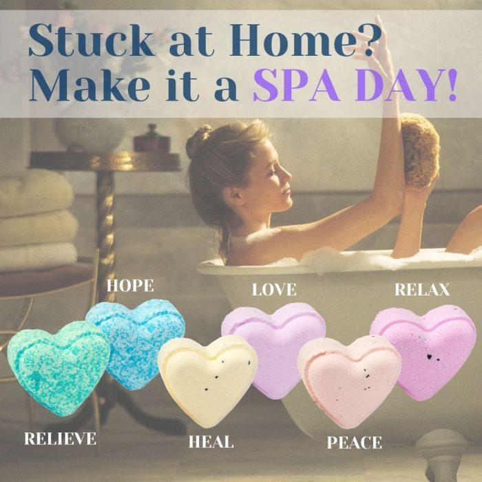 2oz Heart-Shaped Premium Hemp Bath Bombs 1